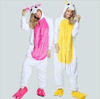 Pink Unicorn Pajamas Sets Flannel Cute Cartoon Animal Pajamas Sets Winter Super Soft Flannel Nightie Stitch