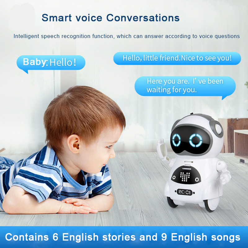 RC Robot Pocket Intelligent Interactive Talking Dialogue Voice Recognition Record Singing Dancing Telling Story Mini  Robot Toy