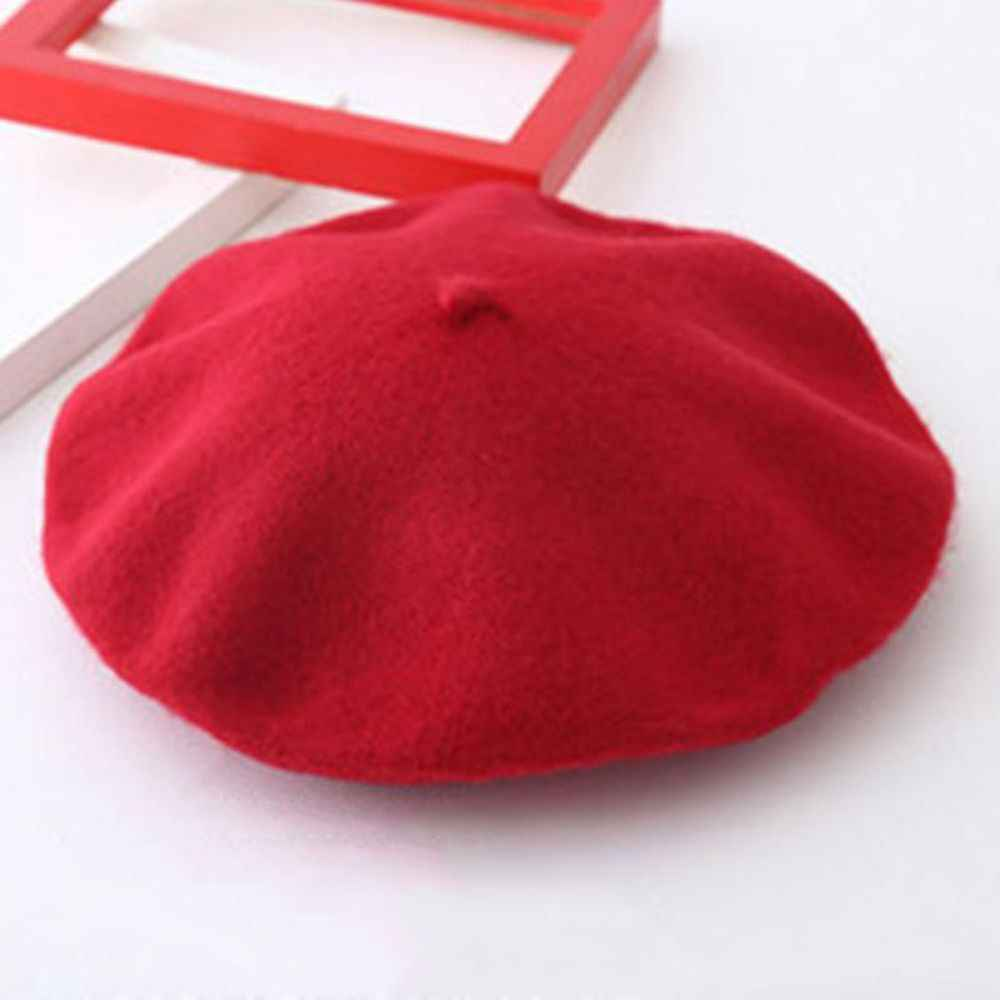 112132c8 ... 1PC Fashion Sweet Winter Wool Blend Beret Warm Women Felt French Beret  Beanie Solid Color Berets ...