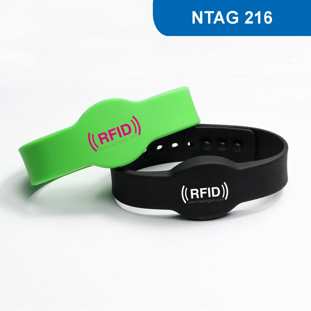WB04 RFID Wristband for Access Control and club, NFC Smart Bracelet Tag 13.56MHZ 888KBYTE R/W ISO14443A with  NTAG 216 Chip 1000pcs long range rfid plastic seal tag alien h3 used for waste bin management and gas jar management