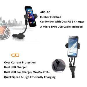 Image 4 - Cánh Tay dài Xe Người Giữ Điện Thoại Đứng Đối Với iPhone X 7 8 Xiaomi Kép USB Port Car Charger Đối Với Samsung S8 s9 3.5 6.3 inch Điện Thoại Di Động