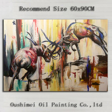 Manufacturer Wholesale High Quality Impression Fighting Deer Oil Painting On Canvas Handmade Stag Oil Painting Decoration 1kg 98% high quality aloe emodin supplement manufacturer
