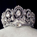 2016 Luxo completa rhinestone headband para as mulheres de prata banhado a liga de cristal tiaras de casamento coroa de noiva acessório do cabelo jóias