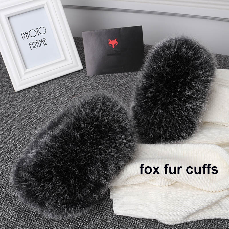 MsMinShu Real Fox Fur Cuffs Kvinder 100% Natural Fox Fur Sleeves For Women Frakke Warmer Sleeve Jacket Fur Cuffs Fluffy Pels Mansjette