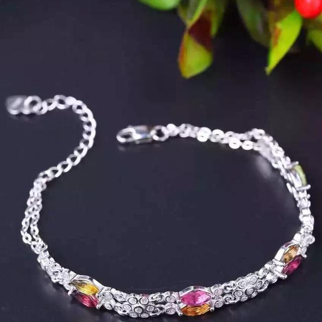Linda pulseira de prata inlay com naturais 3*6mm colorido turmalina pulseira pure 925 pulseira de prata esterlina para a mulher presente