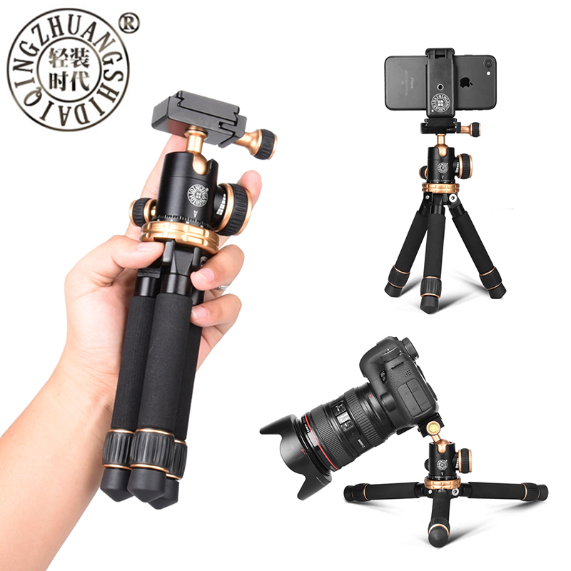 Lightweight Compact Aluminum 245mm length Desktop Mini Tripod with Ball Head Phone Clip for DSLR SLR Camera Xiaomi Phone bexin lightweight camera tripod aluminum desktop photography compact mini tripod with swivel ball head for canon dslr camera