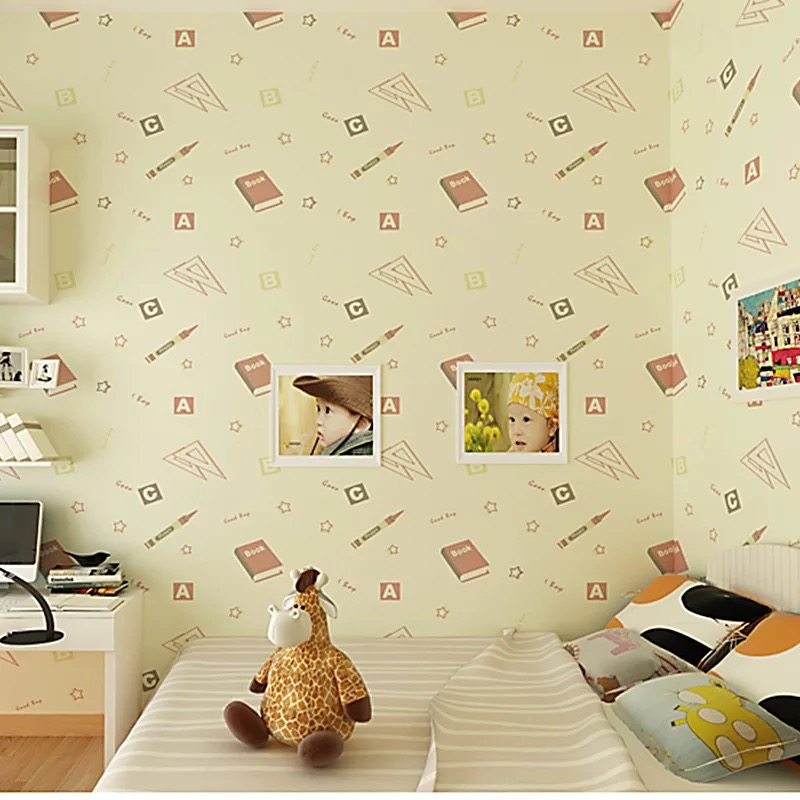 цена на European Cartoon 3D Embossed Wallpaper Pink Beige Children Wallpaper For Walls 3D Bedroom Kids Room Wall Decor Wall paper Roll
