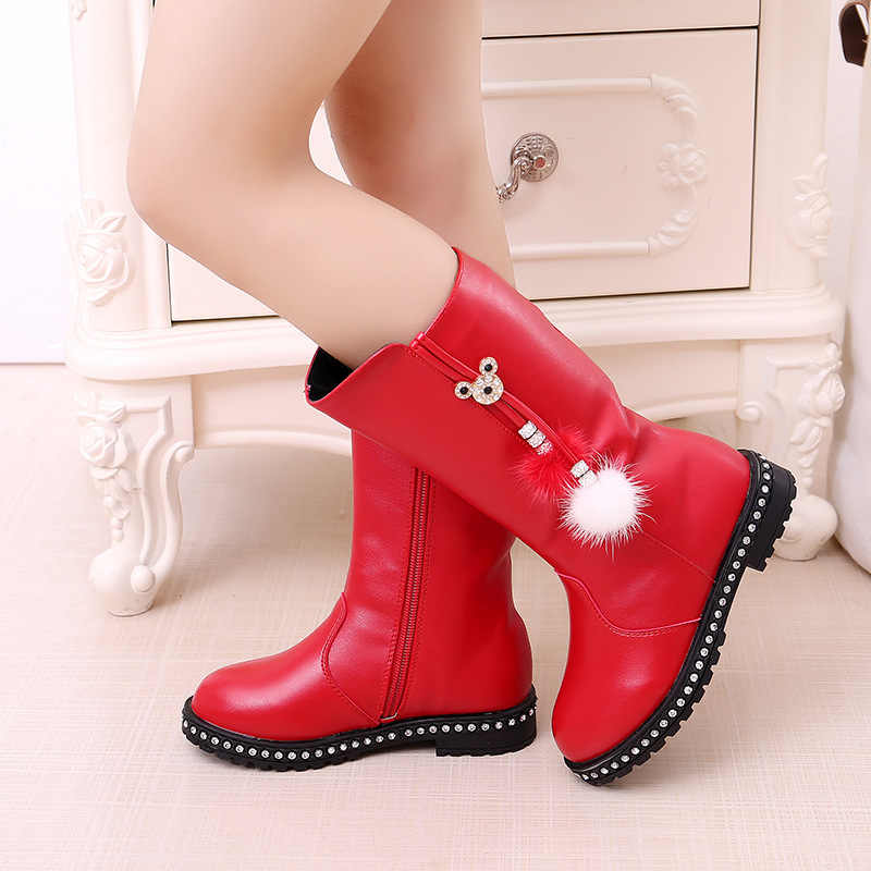 Children'S Winter Boots For Girls Rhinestone Flower Fashion Plush Boots Princess Flats Dress Shoes Black Red Non-Slip Snow Shoes
