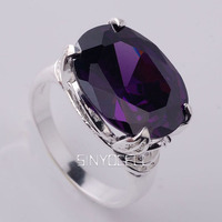 Women Sterling 925 Silver Ring 12x16mm Big Oval Purple Cubic Zirconia Support Customization Extra Small & Large Jewlery R023