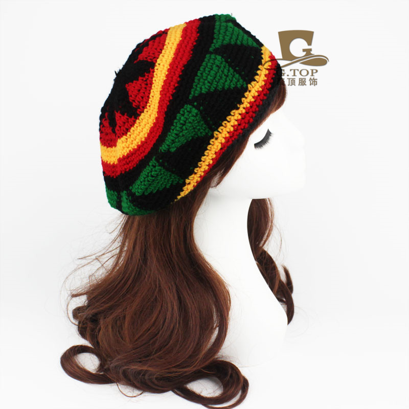 Rasta Reggae Knitted. Fashion Unisex Rasta beret hat Jameican costumes hat  Winter Warm . f8a160c1b7dd