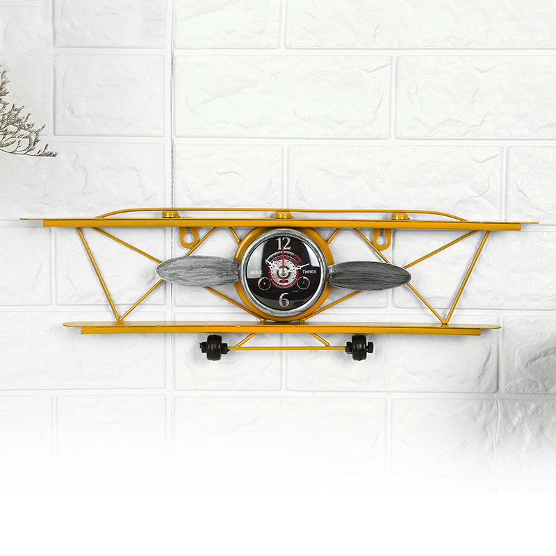Authentic 2020 New Simple Retro Style Wall Hanging Wrought Iron Airplane Head Hanging Clock Watch Creative Hanging Ornament