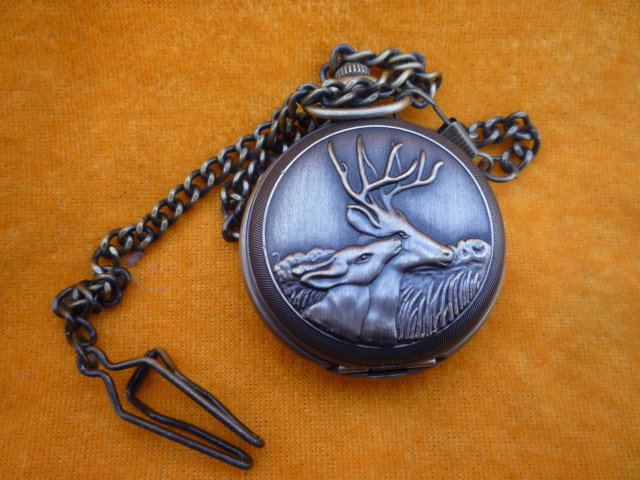 Коллекция красивые Механические карманные часы/часы, может работать, резьба олень, с отметкой, 18 век
