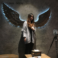 Bird wings wall light Internet cafe bar hanging stereo creative industrial wind retro iron decor Postage free
