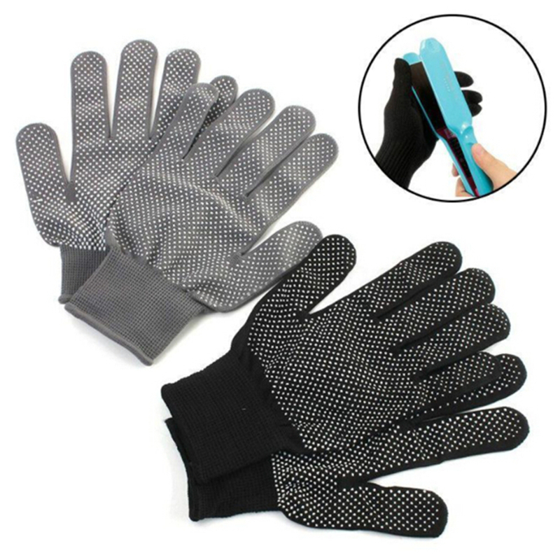 1 Pair Hair Straightener Perm Curling Hairdressing Heat Resistant Finger Glove Black Grey Color