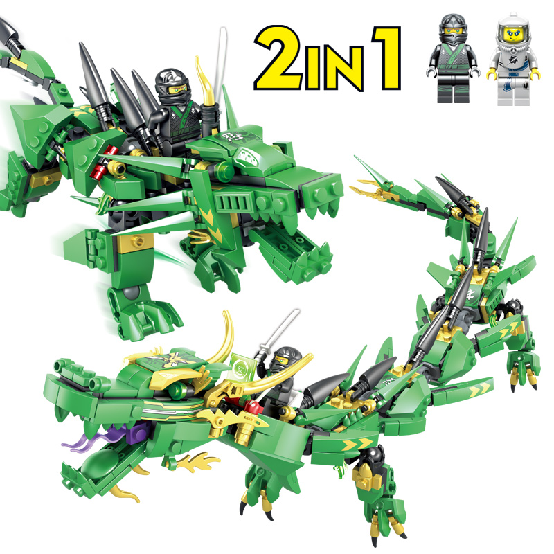 417Pcs Legoings Ninjago Lloyd Green Dragon Ninja Building Blocks Dragon Ball Action Figures Bricks Building Toys for Children new building blocks ninja emmet wyldstyle sheriff gordon zola bad cop robo swat brick toys for children l009 016