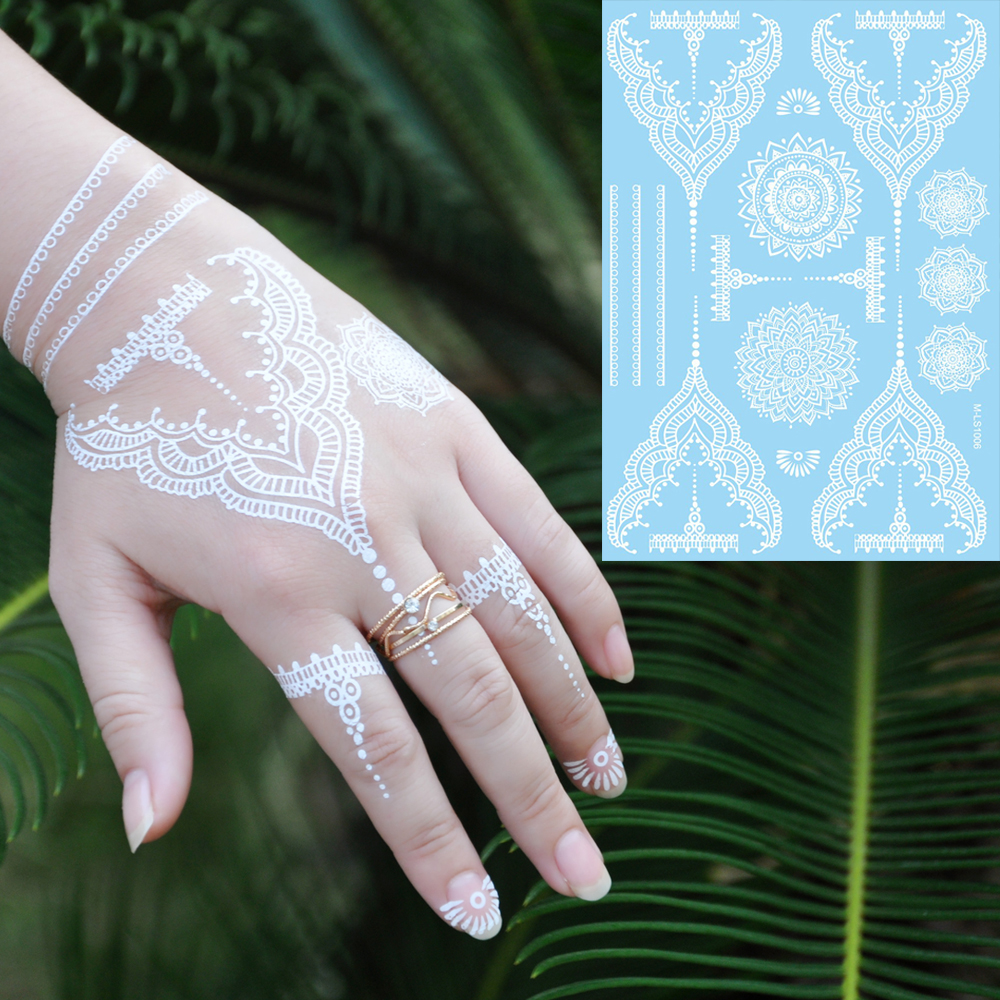 1pc Trendy Fake Flower Waterproof Tatoo WM-LS1006 Temporary White for Women Body Art Tattoo Henna Pendant Choker Jewelry Sticker(China)