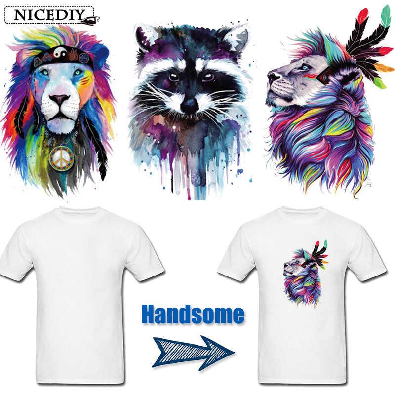 Nicediy Hewan Cat Air Patch Besi Pada Patch untuk Pakaian Perpindahan Panas Vinyl Stiker Lion Raccoon Bordiran Mudah Dicuci Lencana