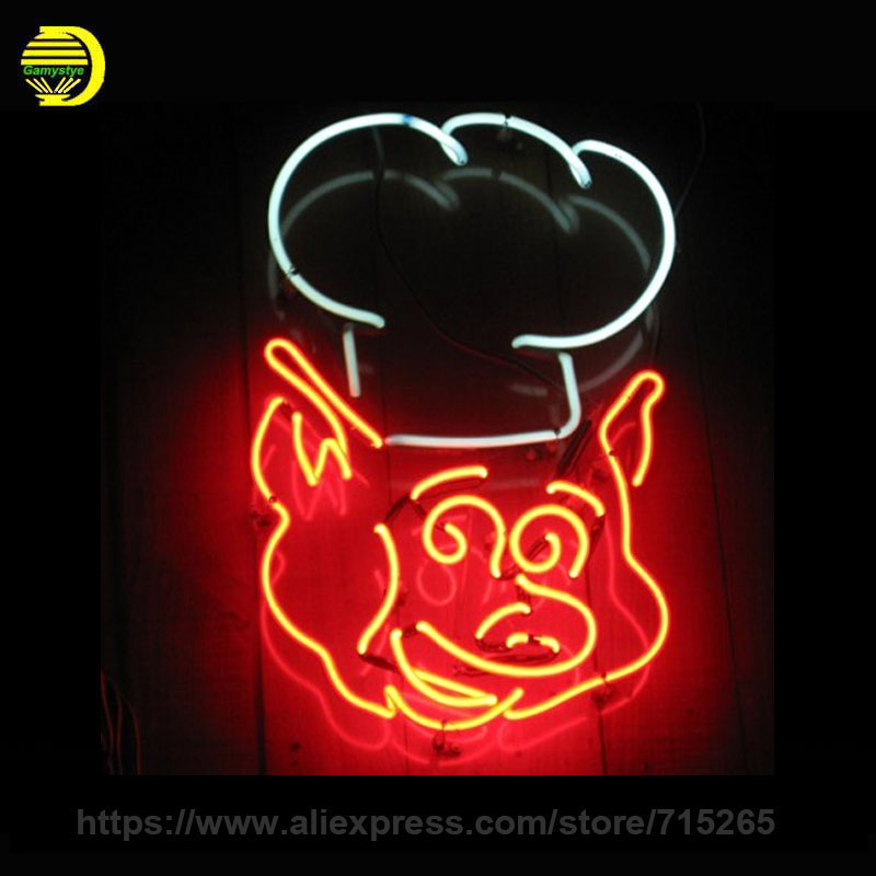 PIG Neon Sign Decorate Room Real Glass Tube Neon Bulb Recreation Room Indoor Frame Sign Custom LOGO Store Displays 17x14