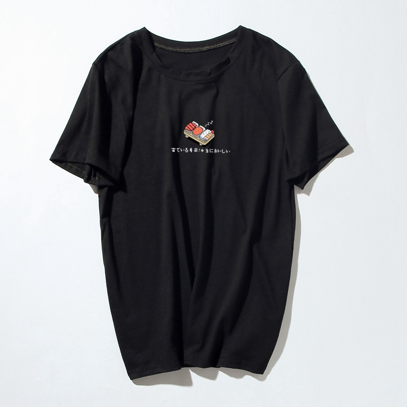Women Funny   T     Shirt   2018 Summer Korean Style   T  -  shirt   Print Sushi Harajuku Casual O-neck Short Sleeve Cotton Couple Tee Plus Size