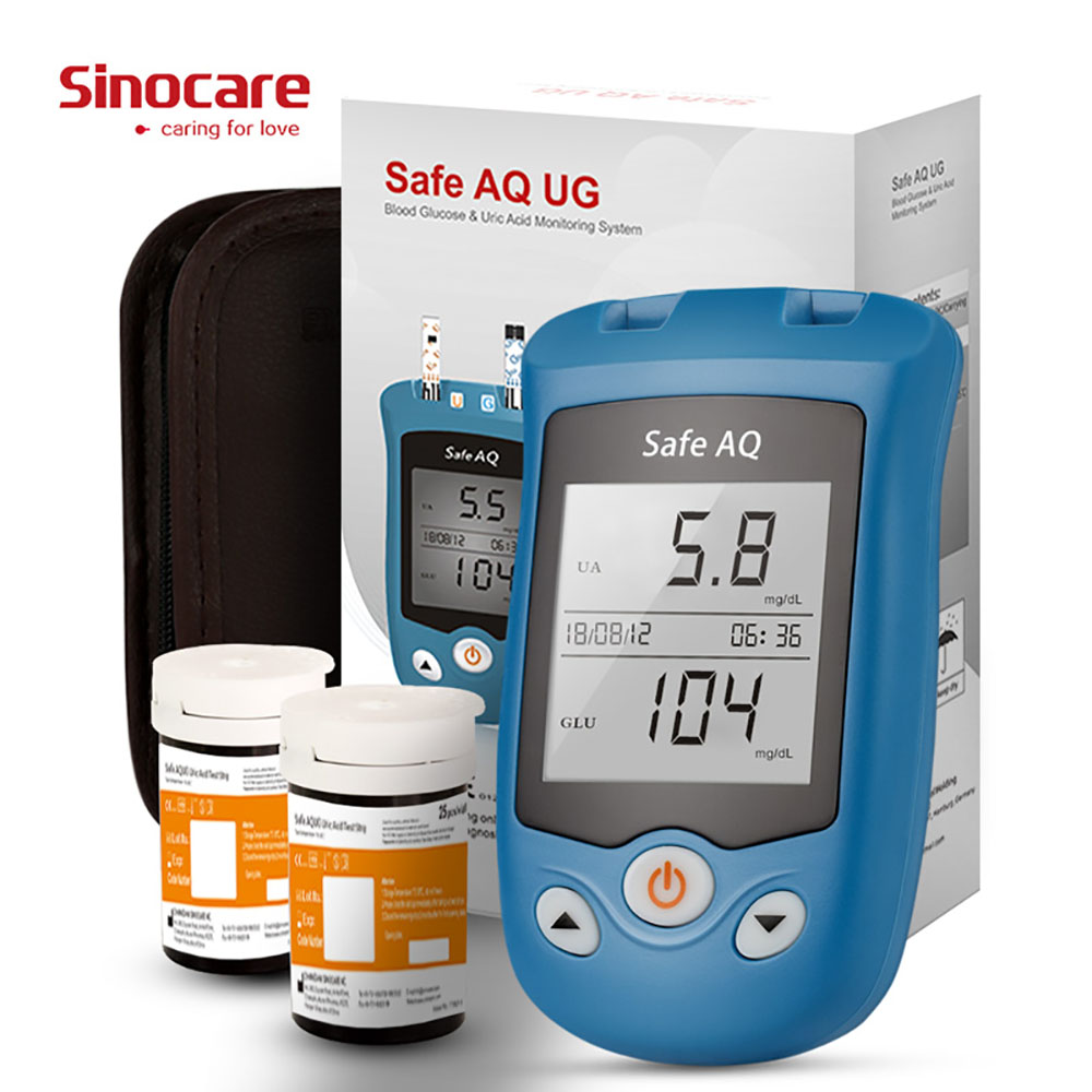 SINOCARE Safe AQ UG Glucometer KIT Blood Glucose Uric Acid Meter & Test Strips Lancets Rapid Test For Gout Diabetes Elderly