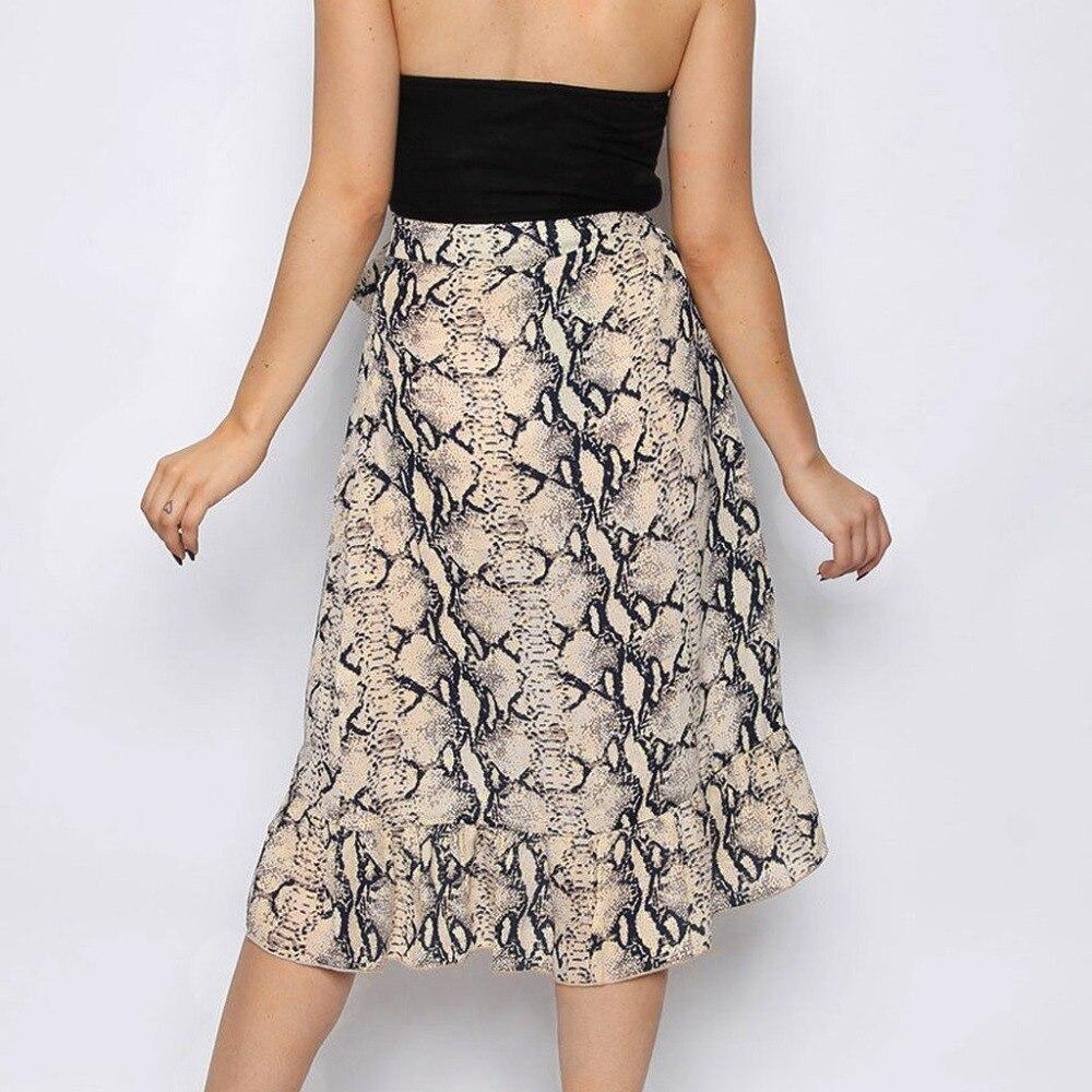 Модная женская юбка, сексуальная Элегантная Повседневная Женская Высокая мода, галстук-бабочка, змеиный принт, оборки на подоле, оборка, юбка миди, BB4