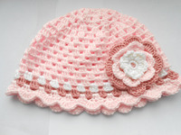 Handmade crochet Hat Light pink Baby Girl Flower Beanie, Light pink Crochet Baby Hat, Photo Prop