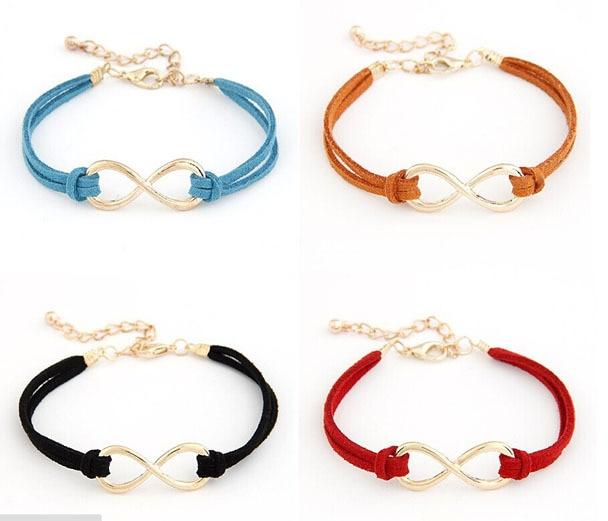 Fashion Woven Braid Rope Infinity Symbol Bracelets Bangles Women S Leather