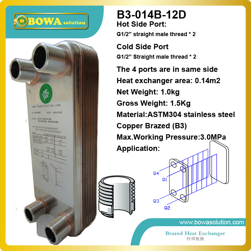 2KW (water to water) B3-014-12 copper brazed Stainless Steel Plate heat exchanger for water heating equipments 19kw r410a to water and 4 5mpa stainless steel plate heat exchanger are used water heater in commerce heat pump equipments