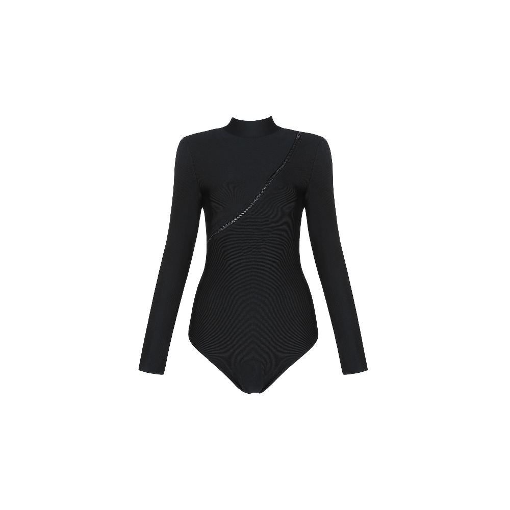 Nouvelles En Bandage Pièces Haut Col Body Similicuir Femmes Avec Noir 2019 Deux Gros Partie Robe Pu dq6g6at