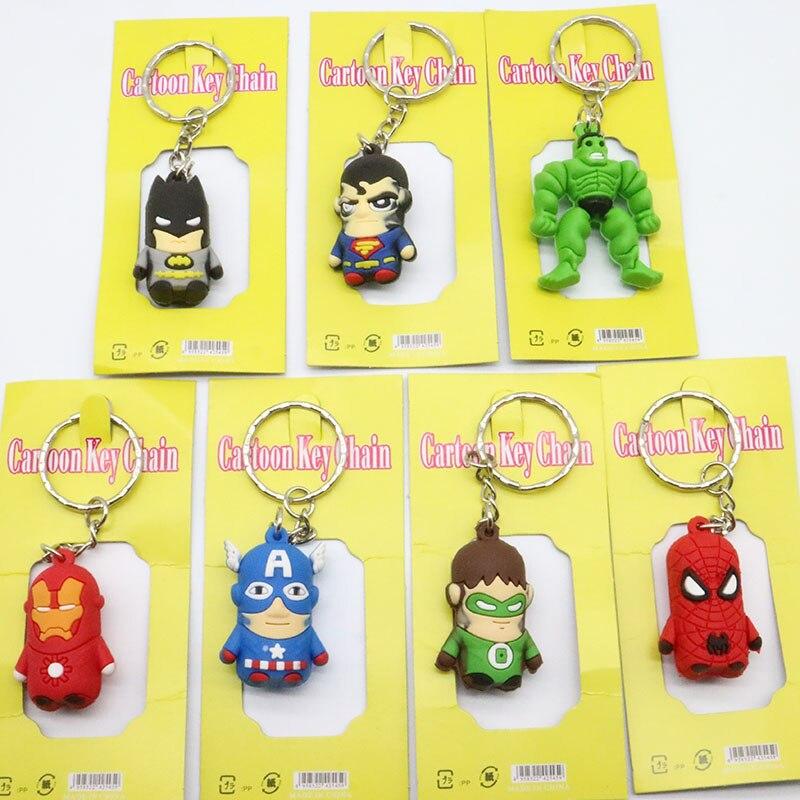 LOST WAY The Avengers Movie Super Hero Keychains Anime PVC Batman Iron Man Spider Man Hulk Figure Keyring Holder Toy For Gift