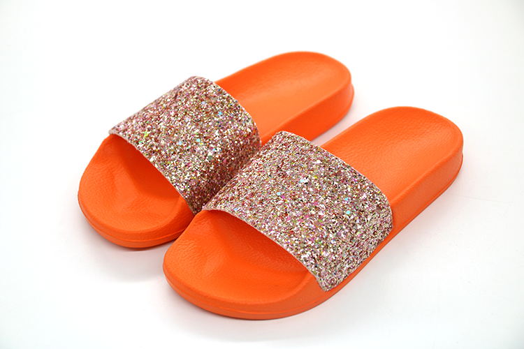7c205db93f6ff COOLSA New Summer Women s Slippers PU Bling Bling Slides Flat Soft Bottom  Sandals Home Flip Flops Female Tap Casual Beach Shoes