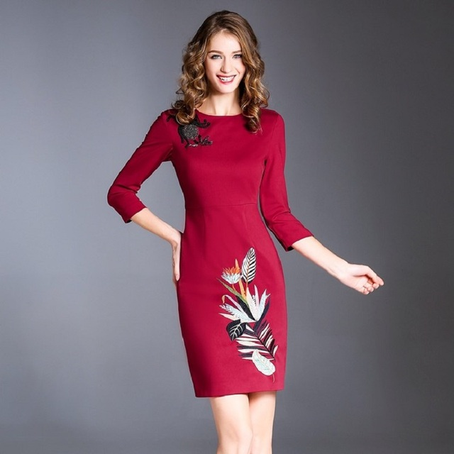 Spring Vintage dress office work embroidery Clothes fashion women ...