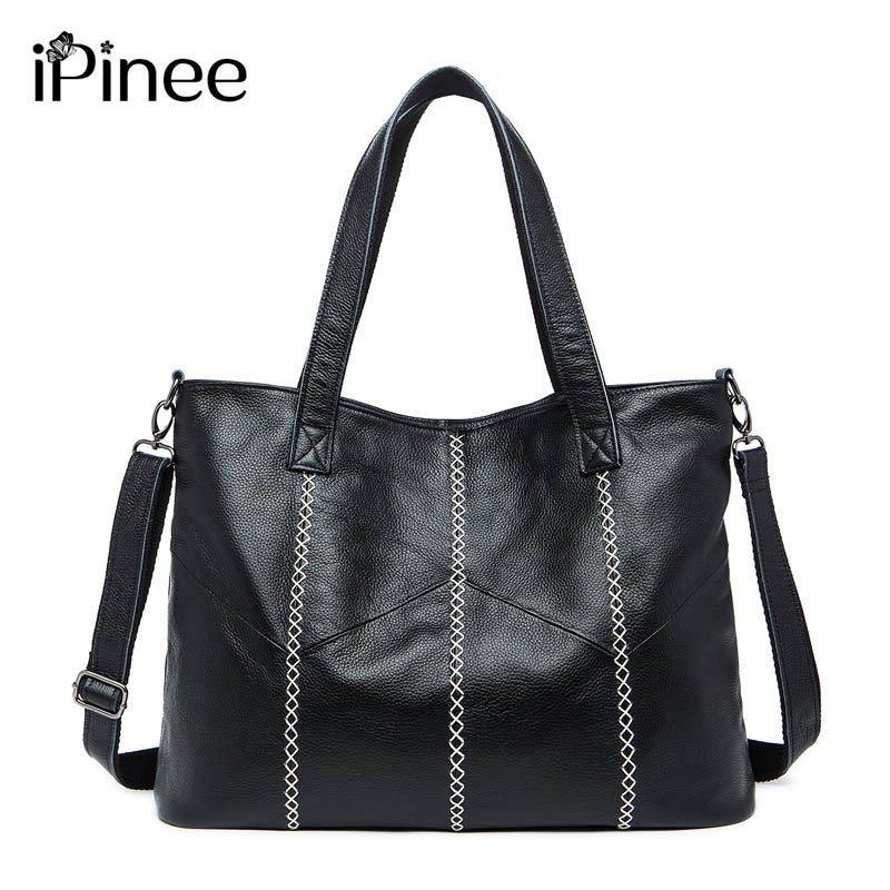 iPinee New Women Handbag Genuine Leather Shoulder Bag Cowhide Ladies Black Brown Casual Shopping Bag Large Capacity Tote Bolsos 2018 new women bag ladies shoulder bag high quality pu leather ladies handbag large capacity tote big female shopping bag ll491