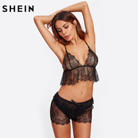 SHEIN Sleepwear Women Black Spaghetti Strap Deep V Neck Sexy Crop Eyelash Lace Cami Tied Shorts