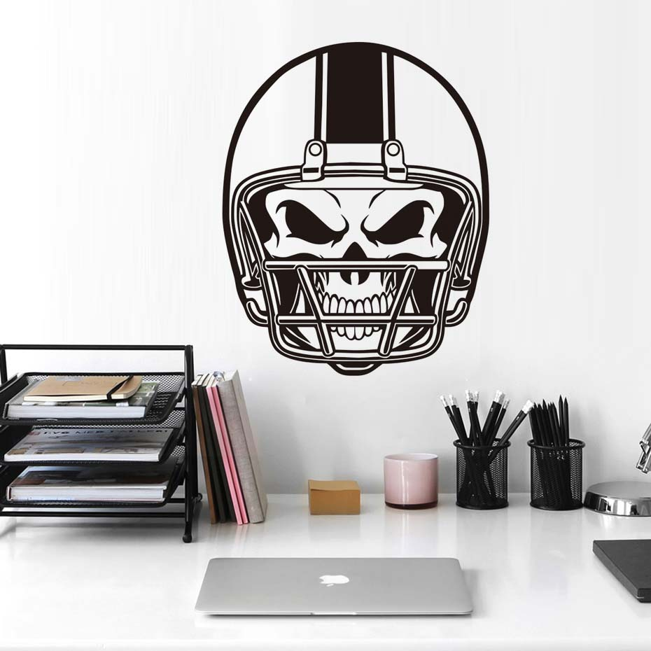 Large Size American Football Helmet Skull Wall Stickers Sports Gym Dorm Room Decor Wall Art 3d Poster Removable Vinyl Mural