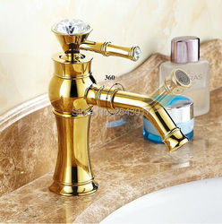 Crystal Diamond Handle Golden Finish Bathroom Basin Mixer Faucet Swivel Sout Luxury Fashion Vessel Sink Gold Faucet ZR421