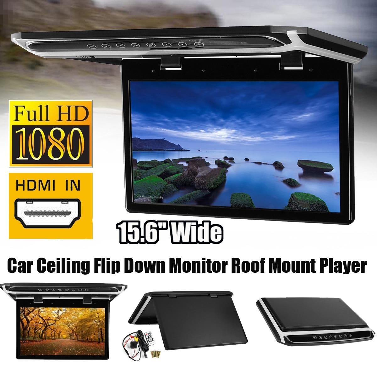 Nouveau 15.6 pouce HDMI 1080 p Voiture Toit Mount Voiture Plafond Flip TV Écran Numérique Moniteur 12 v + télécommande