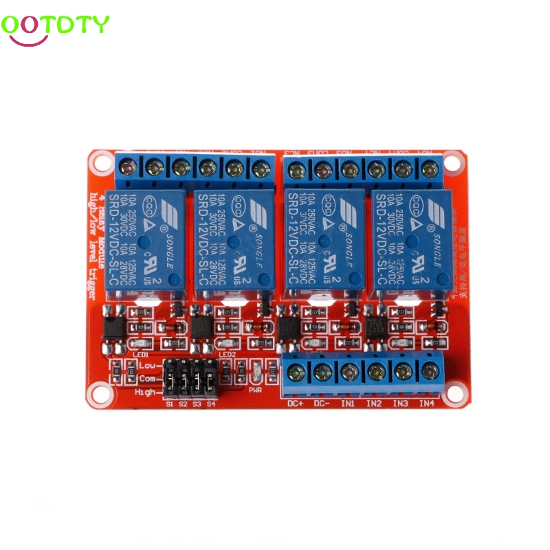 1PC 12V 4 Channel Relay Module with Optocoupler Isolation Supports High Low Trigger  828 Promotion 16 channel relay module low level trigger relay control panel with optocoupler dc12v for plc automation equipment control