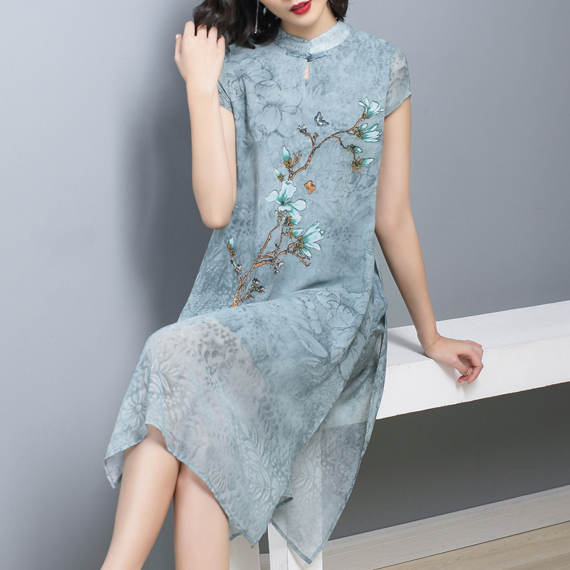 2020 Cheongsam Vintage Chinese Style Short Dress Womens Lace Qipao Party Dresses Vestido Chinese Traditional Dress Cheongsam