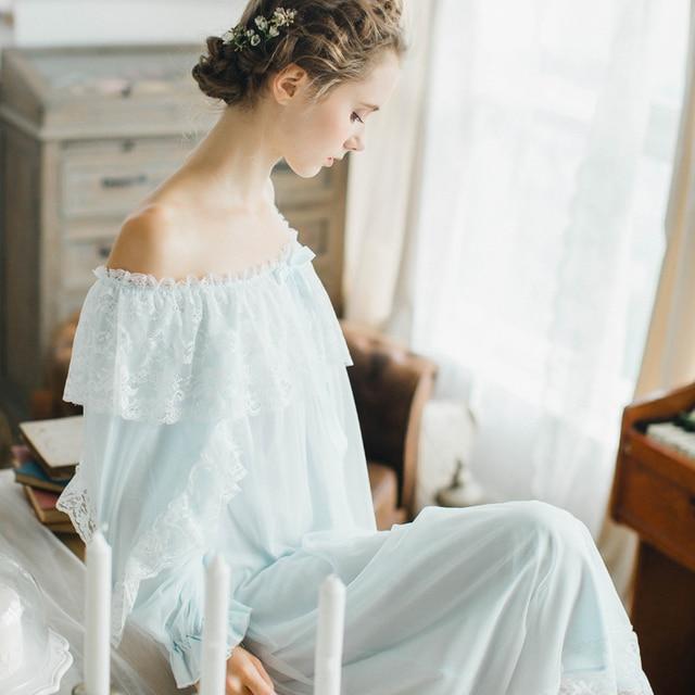 d1c9ea215ad Кружево принцесса женщины с длинными рукавами хлопковая ночнушка Ретро PA  Кружево ночная рубашка Милая женская домашняя