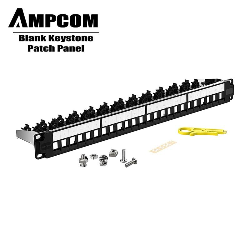 AMPCOM 24-Port Blank Keystone Patch Panel, 1U STP/UTP ,19 Inch Rack Wall Mount With Rear Cable Management Panel, RJ45 Ethernet