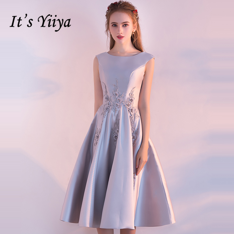 It's Yiiya   Prom     Dresses   2018 Girls O-Neck Sleeveless Embroidery Flower Fashion   Prom   Gowns Party   Dresses   Formal   Dresses   LX903