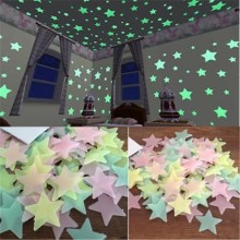 100Pcs 3D Stars Glow In The Dark Wall Stickers Luminous Fluorescent Wall Stickers For Kids Baby Room Bedroom Ceiling Home Decor free shipping new hot 100pcs 3cm 3d stars glow in the dark luminous fluorescent plastic stickers living decor kids