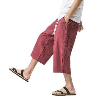 Mens Summer Loose Casual Linen Pants 2018 Harem Wide Leg Trousers Male Big  Drop Crotch Chinese 1258e29497db