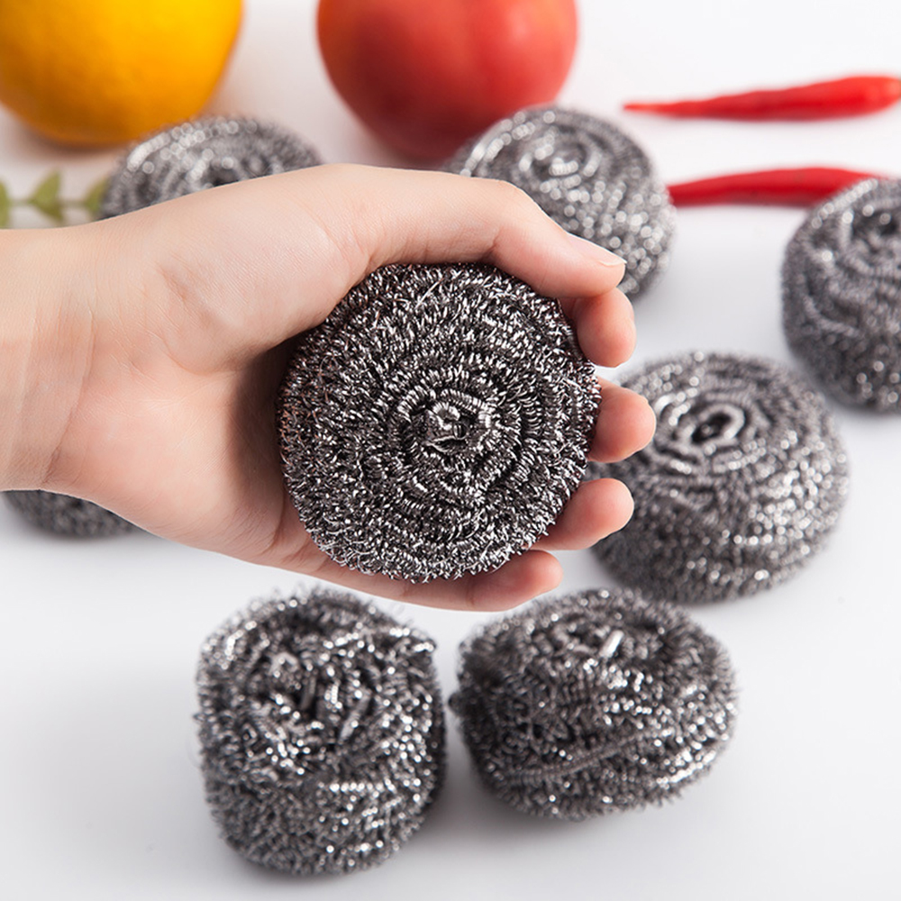New 6pcs Useful Kitchen Tool The Dishes Must Brush Pot Stainless Steel Wire Cleaning Ball Cleaning Brush Kitchen Product Hot image