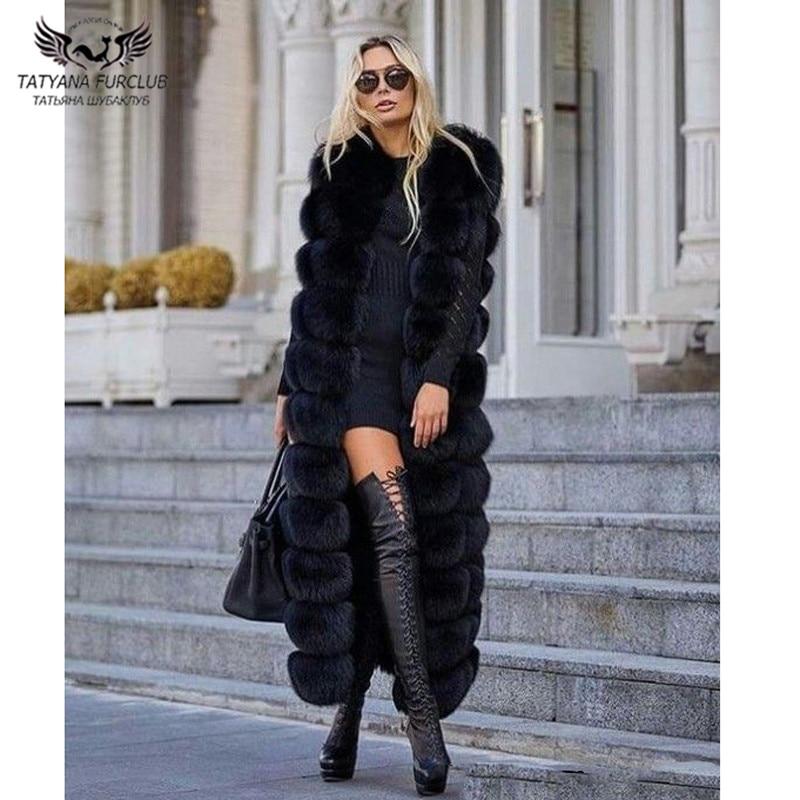 Tatyana Furclub Real Fur Coat X-Long Women Vest Natural Fox Fur Jacket High Street New Real Fur Jackets Plus Size Thick Warm