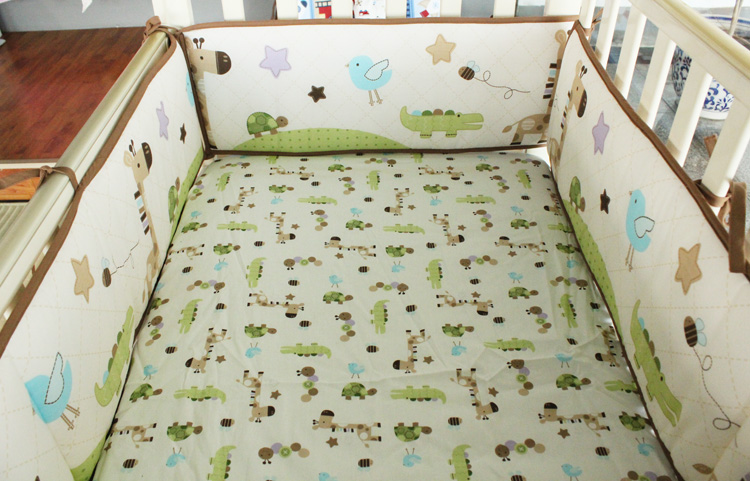 Promotion! 5PCS baby bedding set crib bumper sheet crib around protection breathable cotton ,(4bumper+bed cover)