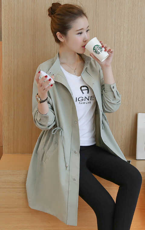 2d87dce8449d0 ... Pregnant women clothing new style fashion windbreaker long pregnant  lady jacket loose self-cultivation coat ...