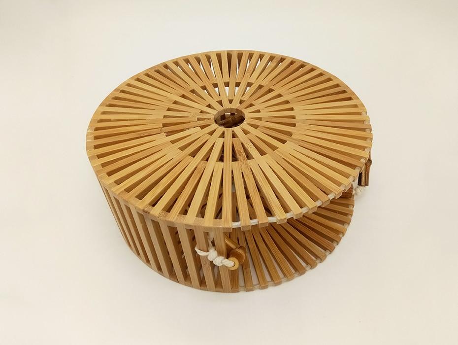 Bolsa de Madera Bambú Tiracolo Redonda Vazada