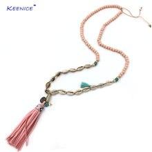 Новое богемное шикарное ожерелье в стиле бохо розовая деревянная